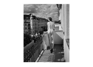 Anna on balcony, Hotel Bogota, 2009